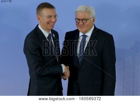 Hamburg Germany. December 8th 2016: Minister Dr Frank-Walter Steinmeier welcomes Edgars Rinkevics Minister of Foreign Affairs of Latvia at the 23rd OSCE Ministerial Council in Hamburg