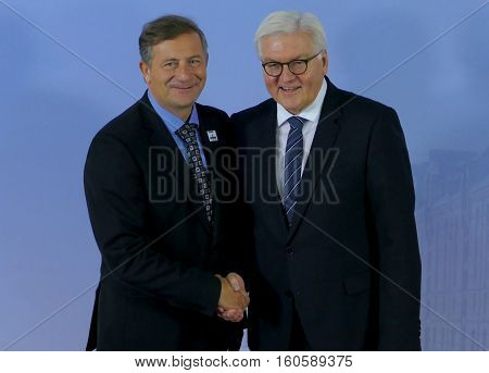 Hamburg Germany. December 8th 2016: Minister Dr Frank-Walter Steinmeier welcomes Karl Erjavec Minister of Foreign Affairs of Slovenia at the 23rd OSCE Ministerial Council in Hamburg