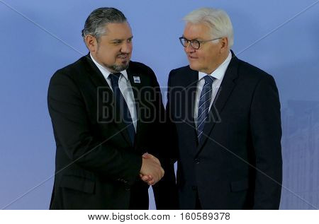 Hamburg Germany. December 8th 2016: Minister Dr Frank-Walter Steinmeier welcomes Andrei Galbur Minister of Foreign Affairs of Moldova at the 23rd OSCE Ministerial Council in Hamburg