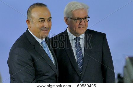 Hamburg Germany. December 8th 2016: Minister Dr Frank-Walter Steinmeier welcomes Mevlut Cavusoglu Minister of Foreign Affairs of Turkey at the 23rd OSCE Ministerial Council in Hamburg