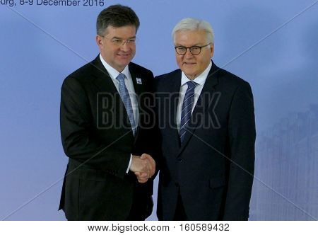 Hamburg Germany. December 8th 2016: Minister Dr Frank-Walter Steinmeier welcomes Miroslav Lajcak Minister of Foreign Affairs of Slovak Republic at the 23rd OSCE Ministerial Council in Hamburg