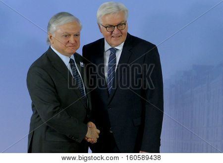 Hamburg Germany. December 8th 2016: Minister Dr Frank-Walter Steinmeier welcomes Edward Nalbandian Minister of Foreign Affairs of Armenia at the 23rd OSCE Ministerial Council in Hamburg