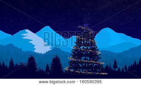 A Christmass Tree and Night Winter Landscape