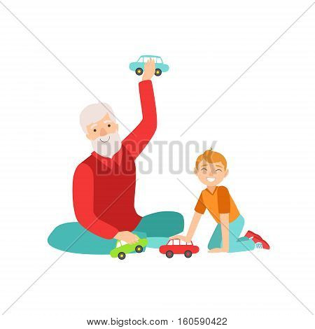 Grandfather And Grandson Playing Toy Cars, Part Of Grandparent And Grandchild Passing Time Together Set Of Illustrations. Good Relationship Between Generations Of Family Cartoon Vector Drawing.