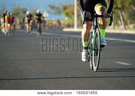 Cycling competition,cyclists in the escape from the peloton