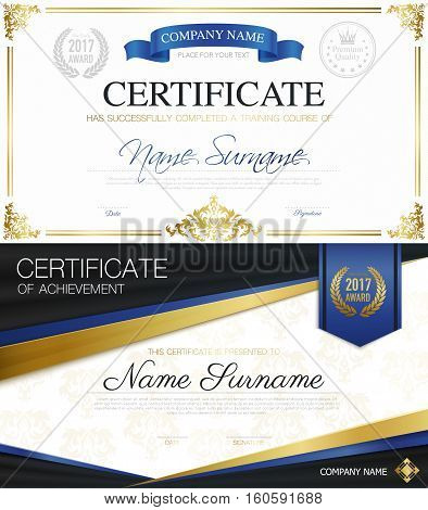 Classic elegant certificates collection of achievement and completion with ribbons and place for text vector illustration
