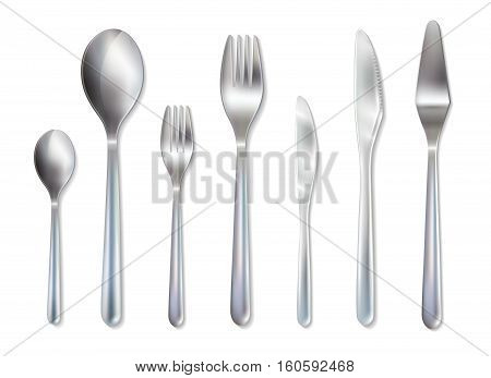 Reception dinner cutlery set with spoons knives and forks for main dish and dessert realistic vector illustration