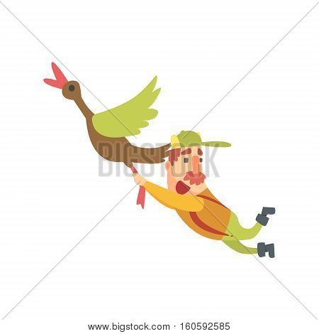 Funny Childish Hunter Character With Moustache Flying Away Carried By Duck Cartoon Vector Illustration. Man And His Hunting Hobby Comic Scene Flat Drawing.