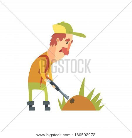 Funny Childish Hunter Character With Moustache Putting The Gun Into The Burrow Cartoon Vector Illustration. Man And His Hunting Hobby Comic Scene Flat Drawing.
