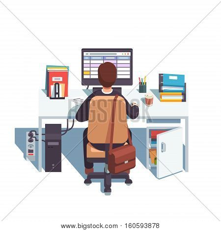 Accountant working in sheets application or planning his day in calendar. Flat style modern vector illustration.
