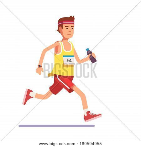 Young man running a marathon with water bottle in hand and number on his chest. Flat style modern vector illustration.