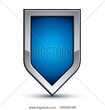 Heraldic Vector Blue Emblem With Silver Outline, 3D Conceptual Defense Geometric Badge Isolated On W