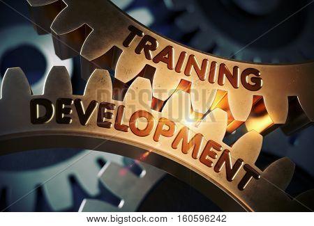 Training Development on the Mechanism of Golden Metallic Cogwheels. Training Development - Illustration with Glow Effect and Lens Flare. 3D Rendering.