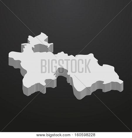 Tajikistan map in gray on a black background 3d