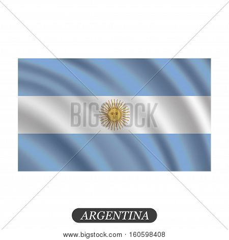 Waving Argentina flag on a white background. Vector illustration