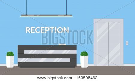 Reception in modern office. Business office, clinic or hotel interior in blue colors with elevator and reception desk . Interior lobby or waiting room inside building.