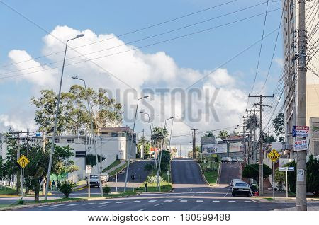 Campo Grande MS Brazil - December 6 2016: Dr Paulo Machado street in front of Shopping Campo Grande. Street also called Furnas street.