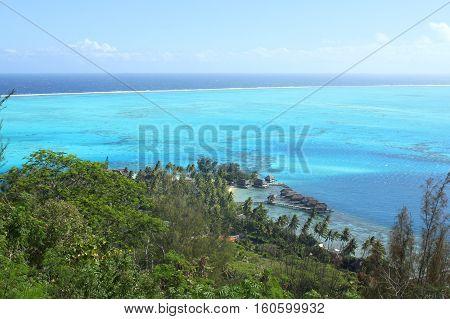 View from Bora Bora island on the sea lagoon and bungalows. Beautiful seascape