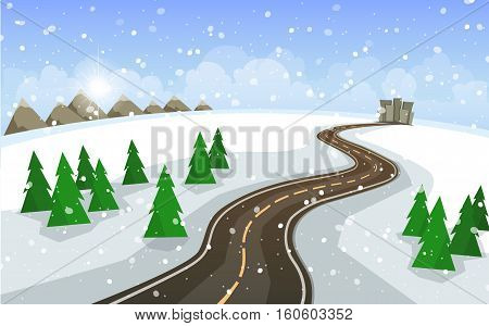 Vector illustration in a flat style. The winter landscape of forests mountains road and lake.