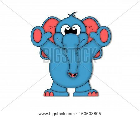 elephant ears drawing animal blue smile red little