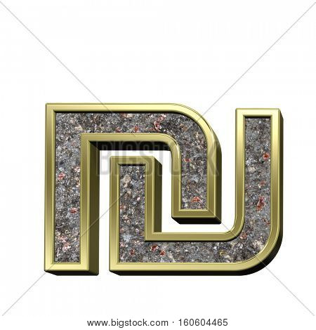 Sheqel sign from corroded steel with shiny gold frame alphabet set, isolated on white. 3D illustration.
