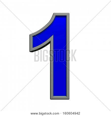 One digit from blue with gray frame alphabet set, isolated on white. 3D illustration.