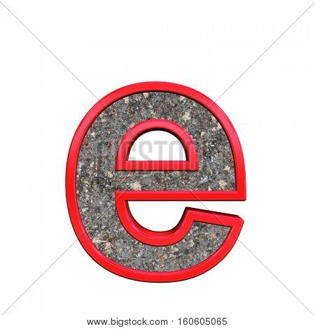 One lower case letter from corroded steel with red frame alphabet set, isolated on white. 3D illustration.