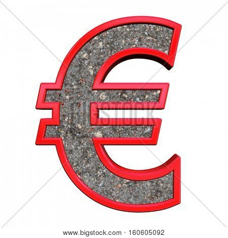 Euro sign from corroded steel with red frame alphabet set, isolated on white. 3D illustration.
