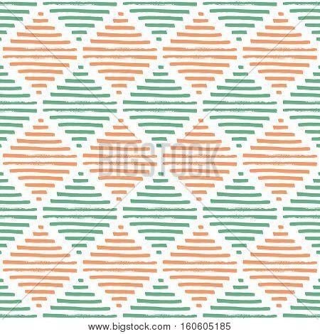 Simple geometric pattern. Mint, beige and white colors. Vintage diamonds. Grungy texture. Vector illustration.
