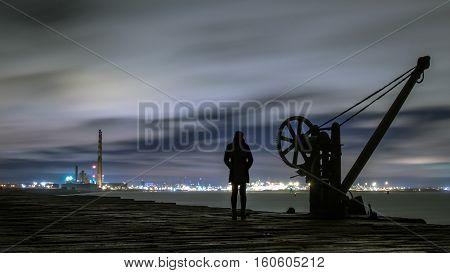 Dublin Docklands view from Poolbeg lighthouse, Dublin Ireland