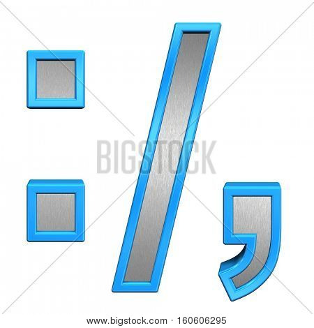 Colon, semicolon, period, comma from brushed silver with blue frame alphabet set, isolated on white. 3D illustration.