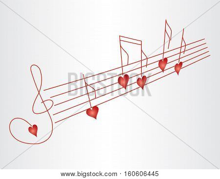 Love song - vector illustration of music score with heart shape