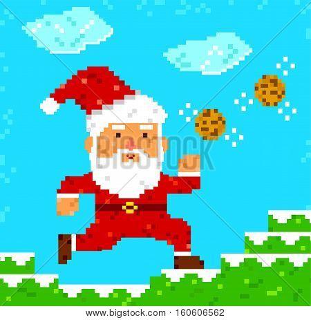 retro 8 bit pixel Santa Clause catching cookies