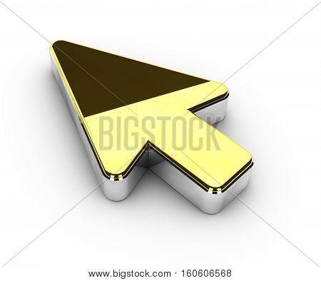 3d Illustration of gold cursor symbol on white background
