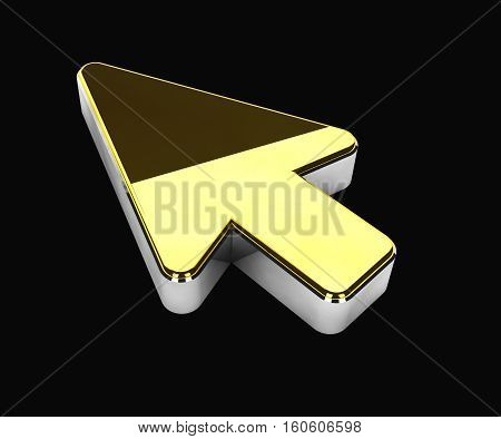 3d Illustration of gold cursor symbol on black background