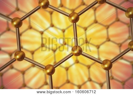 3d rendering nanotechnology hexagonal yellow geometric form close-up, concept graphene atomic structure