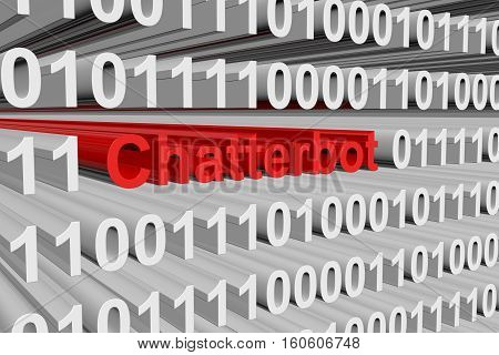 chatterbot are presented in the form of binary code 3d illustration