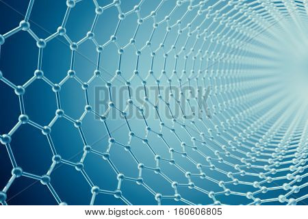 3d rendering blue abstract tube nanotechnology hexagonal geometric form close-up, concept graphene molecular structure