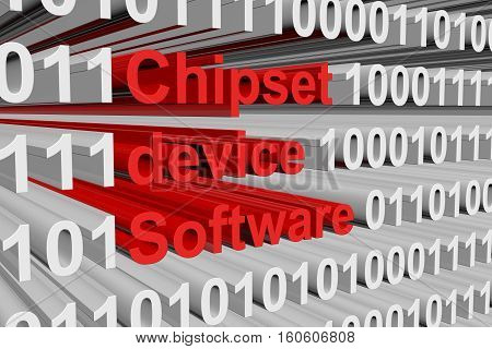 chipset device software is presented in the form of binary code 3d illustration