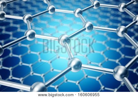3d rendering blue and silver abstract nanotechnology hexagonal geometric form close-up, concept graphene atomic structure