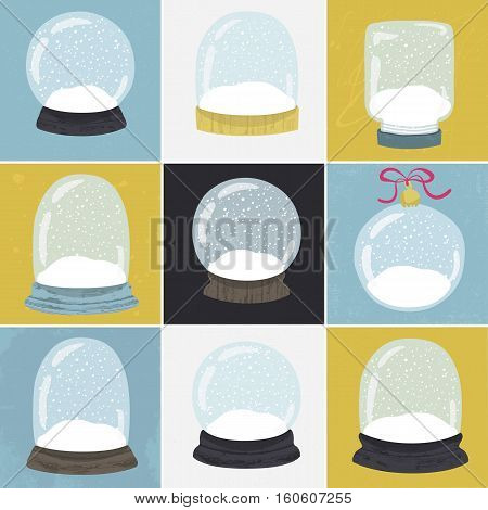 Set of 9 illustrations with cute handdrawn snow globe. Decorative vector clipart element. Empty glass balls with wood base on textured background. Fully editable christmas template in trendy colors
