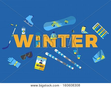 abstract illustration with word winter and winter icons around vector card template