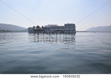 View of lake Palace from lake Pichola in Udaipur, Rajasthan, India
