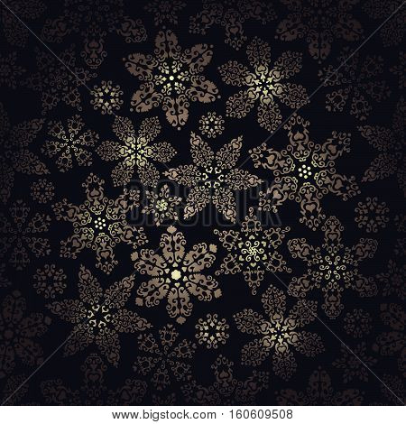 Background with luminous openwork snowflakes on black. Vector illustration.