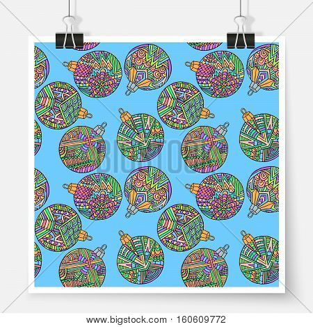 Christmas Tree Balls Zentangle New Year Pattern Poster Blue