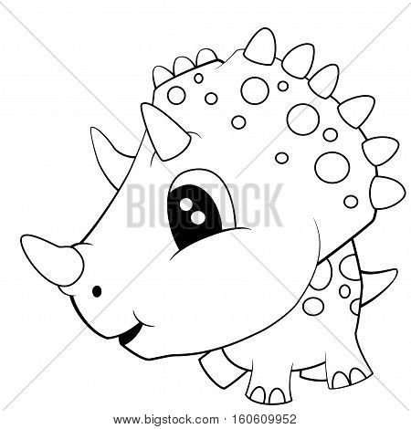 Illustration of Cute Black and White Cartoon of Baby Triceratops Dinosaur. Vector EPS 8.