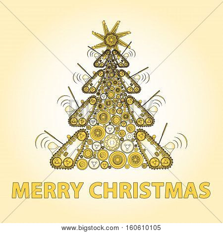 Bizarre machine Christmas tree build from ground works vehicles wheels components. Construction equipment for building. Truck, digger, crane, bagger, roller, excavator, transportation. Outlined vector
