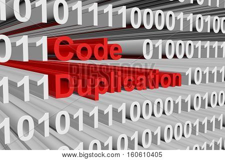Code duplication in the form of binary code, 3D illustration