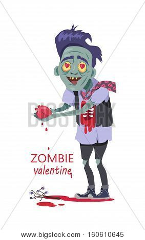 Scary zombie valentine. Dead man with grey skin, in torn clothes standing with tear out heart in hands, bouquet of flowers lying in a pool of blood vector illustration isolated on white background