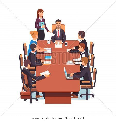 Directors board meeting. Business executives people working together in conference room at big desk. Flat style color modern vector illustration.